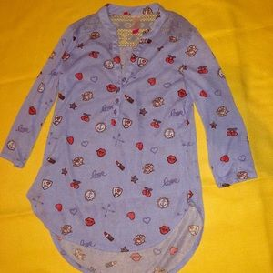 Cosmetic fun shirt with lace shoulder & buttons